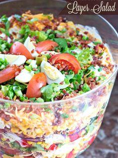 Potluck Recipes, Veggie Recipes, Salad Recipes, Chicken Recipes, Cooking Recipes, Veggie Food, Cooking Tips, Layered Taco Salads, Seven Layer Salad