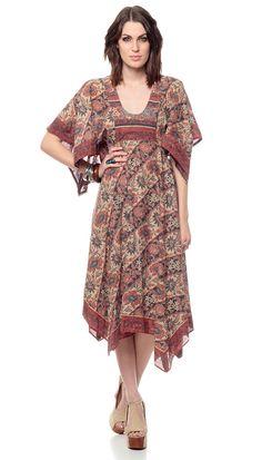 70s Boho Dress SCARF HEM Brown Floral Print 1970s by ShopExile