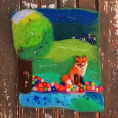 Wool Painting, Whimsical Art, Needle Felted Art, Fox, Fiber Art, Textile Art, Felt Landscape, Scenery, Colorful, Nature, Countryside, Hills - pinned by pin4etsy.com