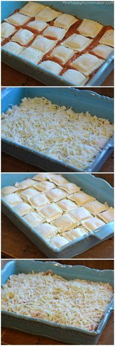 Easy Baked Ravioli. 25oz frozen cheese ravioli (keep the pasta frozen) 2 cups shredded mozzarella cheese 2 cups spaghetti sauce parmesan cheese, to taste