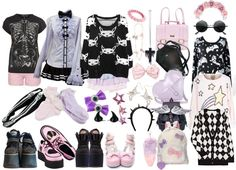 """Pastel Goth wardrobe"" by twisted-candy ❤ liked on Polyvore"