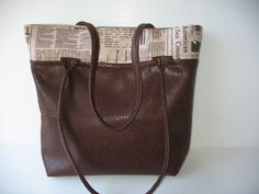 newspaper bag dark brown and newspaper by LIGONaccessories on Etsy, $68.00