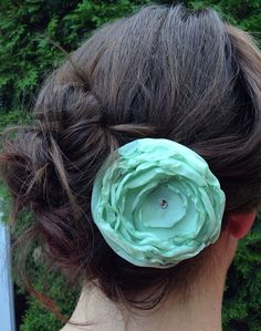 Mint Green Wedding Fabric Flower Hair Clip, Mint Green Wedding Accessory on Etsy, $10.00