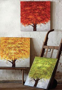 Set of 3 Tree Paintings. Pretty colors. Love these, I want these for my 3 seasons room!