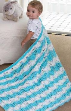 Lace Chevrons Baby Blanket Free Knitting Pattern From Red