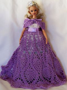 HAND CROCHETED BARBIE-size DRESSER DOLL  (Doll Included)