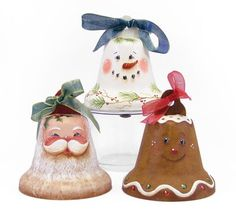 Santa, Snowman and Gingerbread Bell Ornaments. Pattern packet available for $7.00