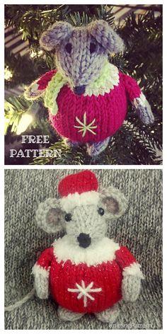 Knit Christmas Mouse Ornament Free Knitting Patterns: Toy Mouse / Mice knitting patterns free for kids, Christmas Tree Ornament Knitted Christmas Decorations, Knit Christmas Ornaments, Christmas Crafts, Xmas Decorations, Christmas Stuff, Holiday Decor, Small Knitting Projects, Diy Knitting Kit, Free Knitting