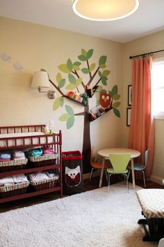 DIY: Good Design is Never Finished Project Nursery-cloth diaper organization. Something to do with all those bins left over from my classroom. Tree Bookshelf, Bookshelves, Tree Shelf, Cloth Diaper Organization, Baby Nursery Rugs, Baby Room, Project Nursery, Nursery Ideas, Bedroom Storage