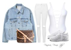 """""""Untitled #845"""" by francescaferraristyle ❤ liked on Polyvore featuring Topshop, Reebok and Louis Vuitton"""