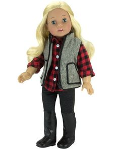 Doll Jeggings Set w/ Checkered Shirt, Jeggings & Vest fits American Girl Pants 3 pc. Ag Doll Clothes, Doll Clothes Patterns, Doll Patterns, Girls Fall Outfits, Sport Outfits, Winter Outfits, Doll Costume, Girl Costumes, Checkered Outfit