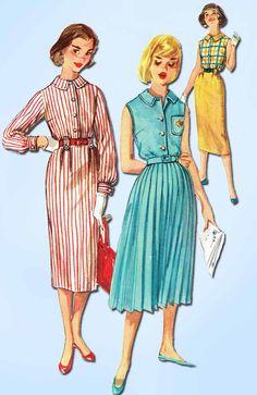 1950s Vintage Simplicity Sewing Pattern 2352 Uncut Misses Shirtwaist Dress Sz 14