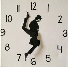"The Monty Python Ministry of Silly Walks clock is created from cm canvas. John Cleese's character from the classic Monty Python sketch ""The Ministry of Monty Python, Do It Yourself Furniture, Diy Clock, Clock Ideas, Clock Decor, Make A Clock, Clock Craft, Clock Work, Take My Money"