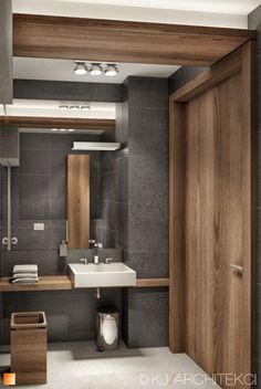 Grey bathroom with wooden elements