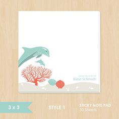 Personalized Sticky Note // Dolphin Ocean Scene by k8inked on Etsy, $8.50