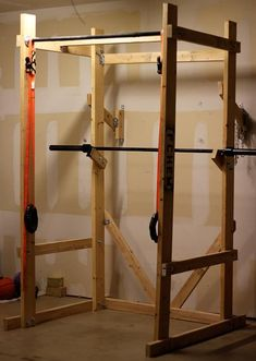 DIY Power Rack from The Art of Manliness. We have enough room in our house we could actually put it in our playroom or by the back door!! #DIYMAN
