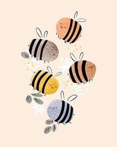 """""""Sweet little baby bees watercolor illustration"""" by DariaNK Inspiration Art, Sketchbook Inspiration, Art Sketchbook, Art Inspo, Art Et Illustration, Dinosaur Illustration, Mountain Illustration, Family Illustration, Floral Illustrations"""