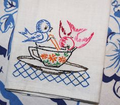 Embroidered Vintage Towel Birds Sipping Tea