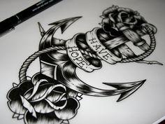 'Have Hope' Anchor tattoo design / illustration - John Hobbs