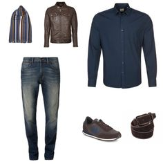 Casual Outfit outfit - Urban fashion - Deze casual outfit is stoer en mannelijk. De jeans van Wrangler en de blouse van KIOMI zijn een goede combinatie. Door het leren jack van Bogner Jeans krijgt het geheel een stoere en mannelijke uitstraling. De look is compleet met de schoenen van New Balance, de riem van Suitableshop en de sjaal van Profuomo.