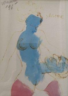 """Salomé - gemengde techniek op papier - gesigneerd - 1996  Uniek exemplaar van Corneille uit privé- collectie. Door Corneille gemaakt met het oog op gebruik als illustraties bij een boek van Oscar Wilde (""""Salome""""). Gesigneerd in potlood """"Corneille '96"""" en """"Salome"""". Afmetingen 44cm x 39 cm (kader inbegrepen). Werk en kader in perfecte staat. Achter glas. v 2050€"""