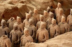 Terracotta Warriors - Qin Terra Cotta Army Museum, China - Photo by Pedro Szekely © - Built on the site of the terra-cotta warriors and horses pits in the Emperor Qin's Mausoleum, the museum is located at the northern piedmont of Lishan Mountain 7.5 kilometers east of Lingtong County in Shaanxi Province and 37.5 kilometers west of Xi'an City. The site was made a UNESCO World Cultural Heritage Site in 1987. | #Photography #Places #Travel #China #Museum #Terracota #Xian |