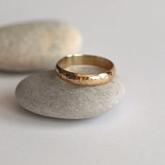 Yellow Gold Wedding Ring with Hammered Texture,Womens, Unisex, Men Handmade Wedding Rings, Rustic Wedding Rings, Wedding Rings For Women, Rings For Men, Wedding Bands, Band Engagement Ring, Stainless Steel Rings, Gold Rings, Boho