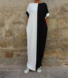 Black and white maxi dress - new colors of Our Timeless Model ! The most comfy dress in the world !This casual dress is the perfect accessory for your next vacation or beach getaway. The soft material will keep you cozy as you take a stroll on the beach and soak in the warm summer
