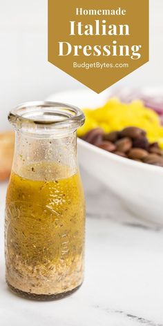 This simple homemade Italian Dressing is a zesty mix of flavorful herbs, savory Parmesan, and bright lemon to complement any salad. BudgetBytes.com Italian Dressing Recipes, Homemade Italian Dressing, Salad Dressing Recipes, Italian Recipes, New Recipes, Salad Recipes, Salad Dressings, Homemade Dressing Recipe, Salads Up