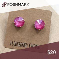 Swarovski Crystal Stud Set in Pink Peony Swarovski Crystal Stud Set in Pink Peony • 12mm • new Floorboard Findings Jewelry Earrings