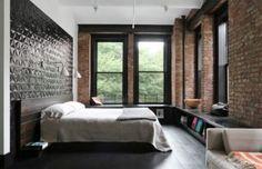 Bringing New York Loft Style Into The - New York Loft Style Bedroom Ideas Industrial Bedroom Design, Industrial Apartment, Industrial Loft, Industrial Living, Industrial Decorating, Vintage Industrial, Modern Loft Apartment, Loft Apartments, Industrial Restaurant