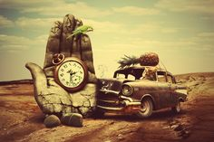 Creative 3d art surreal time chevrolet retro g wallpaper ...