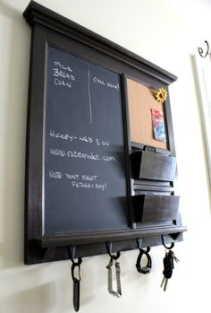 Framed Furniture Chalkboard and Bulletin Board with two pocket Mail Organizer Storage Shelf and Keyhooks on Etsy, $291.82