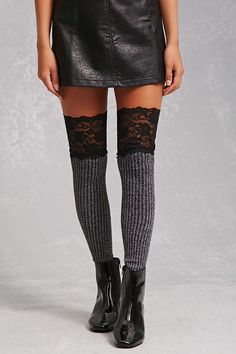 A pair of ribbed knit thigh-high tights featuring a contrasting semi-sheer eyelash lace thigh trim.<p>- This is an independent brand and not a Forever 21 branded item.</p>