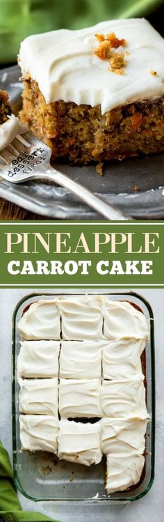 The best carrot cake recipe is this pineapple carrot cake with cream cheese frosting! Moist, spiced, and so easy! Easter dessert