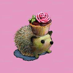 Cupcake Hedgehog custom fabric by golders for sale on Spoonflower Hedgehog Illustration, Cute Illustration, Character Illustration, Hedgehog Craft, Cute Hedgehog, Hedgehog Pet, Cute Creatures, Beautiful Creatures, Hedgehog Accessories