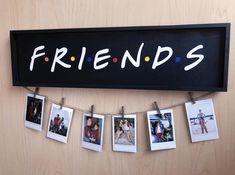 Friends tv show wood polaroid sign - 18 x 5 black & colored dots / polaroid wall decor display / friends gift / includes clothespins - Polaroid Wand, Polaroid Display, Polaroid Pictures Display, Mini Polaroid, Friend Birthday Gifts, Diy Birthday, Gifts For Friends, Friend Gifts, Picture On Wood