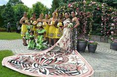 Pacific Islander Wedding. Hula flower girl dresses