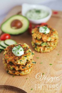 Crispy Vegetable Fritters with Avocado Yogurt Sauce - This recipe is packed with broccoli, carrots, and zucchini. Enjoy by dipping each appetizer bite into a delicious creamy sauce Healthy Vegetable Recipes, Healthy Vegetables, Vegetable Dishes, Healthy Snacks, Vegetarian Recipes, Cooking Recipes, Sauce Recipes, Vegetable Appetizers, Veggies