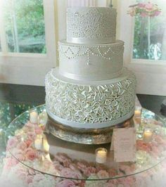 Ruffle wedding cake by Michelle Donnelly - http://cakesdecor.com/cakes/294508-ruffle-wedding-cake