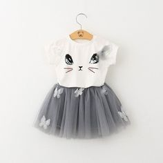 Baby Girl Short Sleeve T-Shirt + Veil Dress 2Pcs