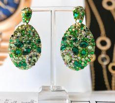 GREEN LONG EARRINGS, emerald earrings, green rhinestone dangle earrings, green outfit, vintage inspired earrings, anniversary earrings
