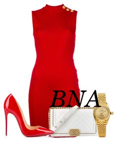 """""""BNA"""" by deborahsauveur ❤ liked on Polyvore featuring Balmain, Chanel, Rolex and Christian Louboutin"""