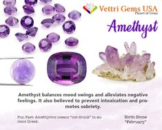 Amethyst is a birthstone of February. Amethyst is believed to keep the owner from intoxication. Vettri Gems USA is a colored stone and natural stone dealer and manufacture from Alexandrite-Zircon. As a member of ICA (International Colored Gemstones Association), we are proud of our high quality product and reliable service. Your satisfaction matters most. #gemstonesmeanings #naturalgems #naturalstones #vettrigemsusa #wholesalegems Diy Crystals, Crystals And Gemstones, Stones And Crystals, Natural Gemstones, What Is My Birthday, Crystal Meanings, Gemstones Meanings, Diy Jewellery Designs, Paparazzi Consultant