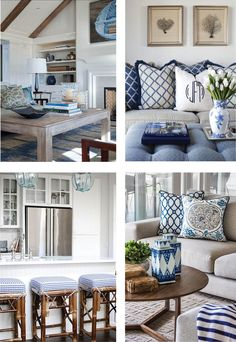 Excellent Set sail and take your colour cue from ocean inspired living. Ultra polished, navy is th… The post Set sail and take your colour cue from ocean inspired living. Hamptons Style Decor, The Hamptons, Coastal Living Rooms, Living Room Decor, Style At Home, Coastal Decor, Coastal Style, Coastal Rugs, Coastal Cottage