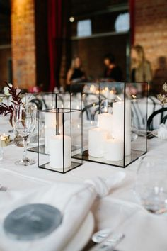 Industrial black rectangular lanterns wedding centerpiece ideas