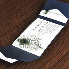 inexpensive unique peacock white and blue pocket wedding invitation kits Peacock Wedding Invitations, Wedding Invitation Card Design, Affordable Wedding Invitations, Pocket Wedding Invitations, Invitation Ideas, Invites, Cheap Invitations, Pocket Invitation, Shower Invitations