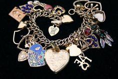 I LOVE YOU Heart Charm Bracelet ooak chunky charms by GeniceRill, $30.00
