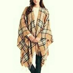 V Fraas Exploded Plaid Print Ruana Warm, pretty. Flannel feel. V. Fraas Accessories Scarves & Wraps