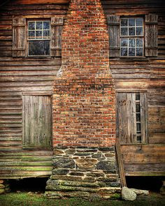 brick, stone, weathered wood